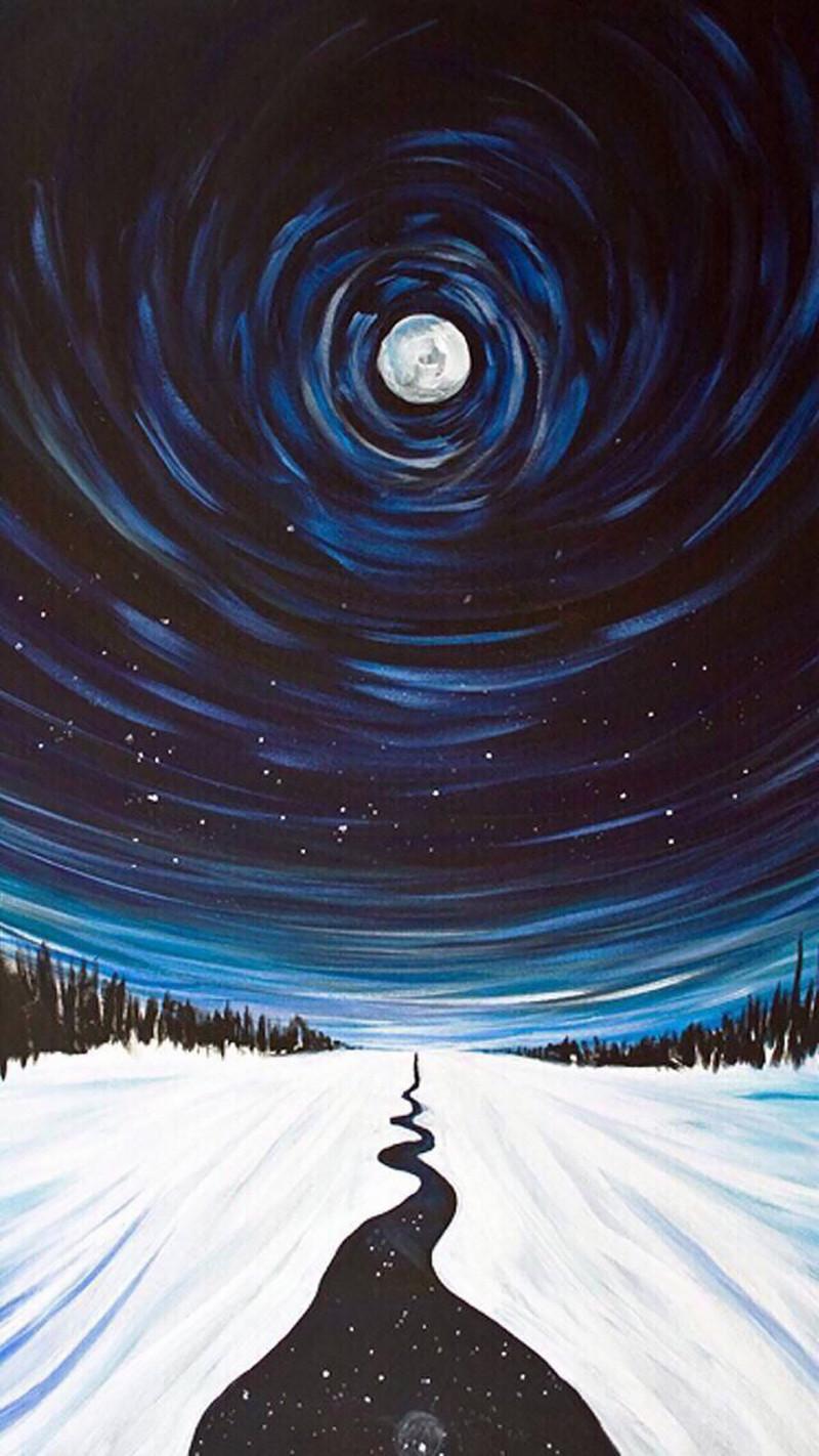 手绘背景街道背景夜晚天空背景h5背景