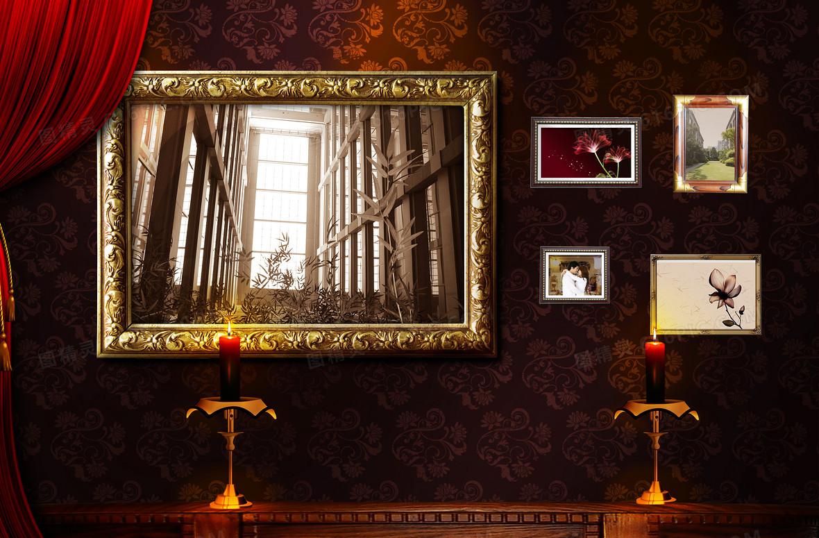 欧式古典家居风格照片墙海报背景素材