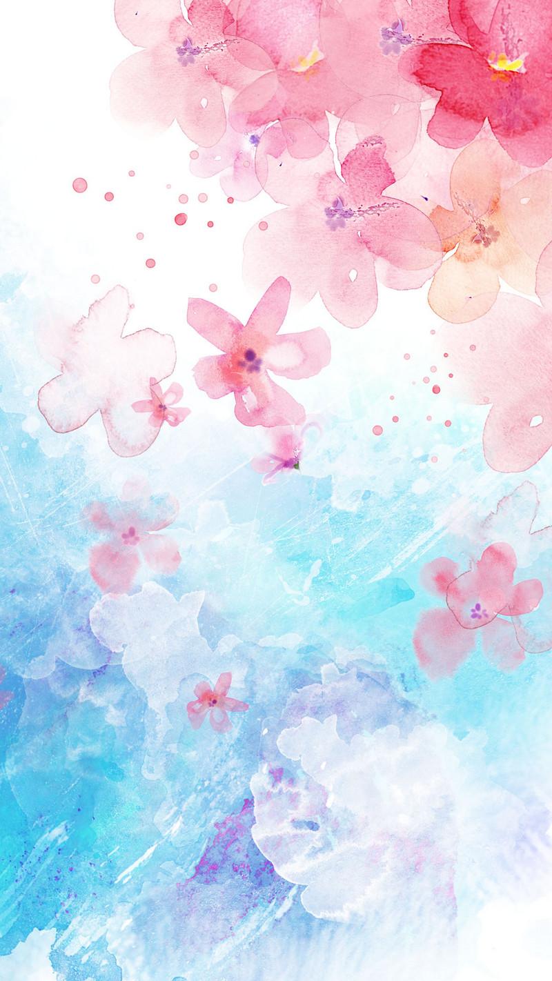 粉色小清新手绘桃花妇女节背景