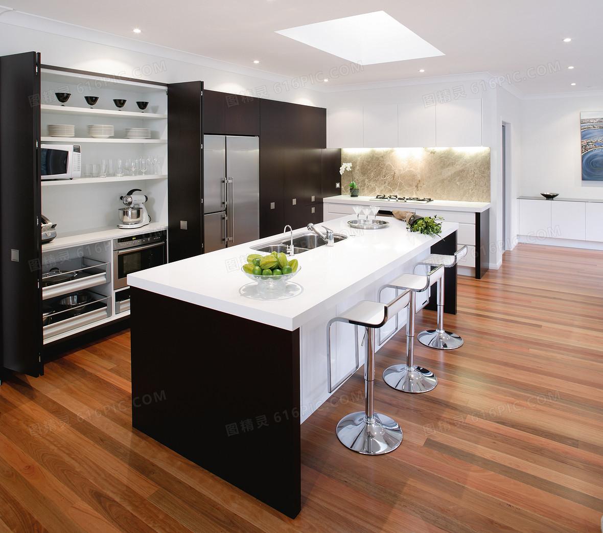 简约家居厨房橱柜地板宣传海报背景素材