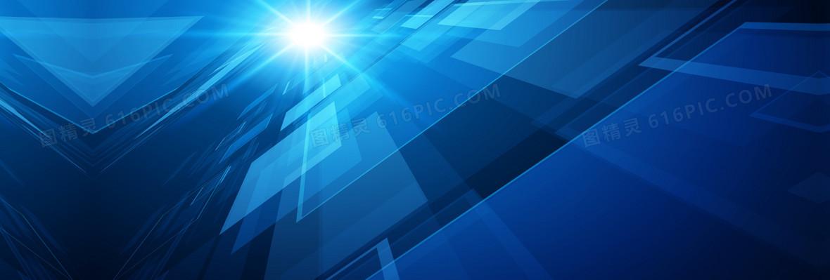 蓝色科幻光芒背景素材