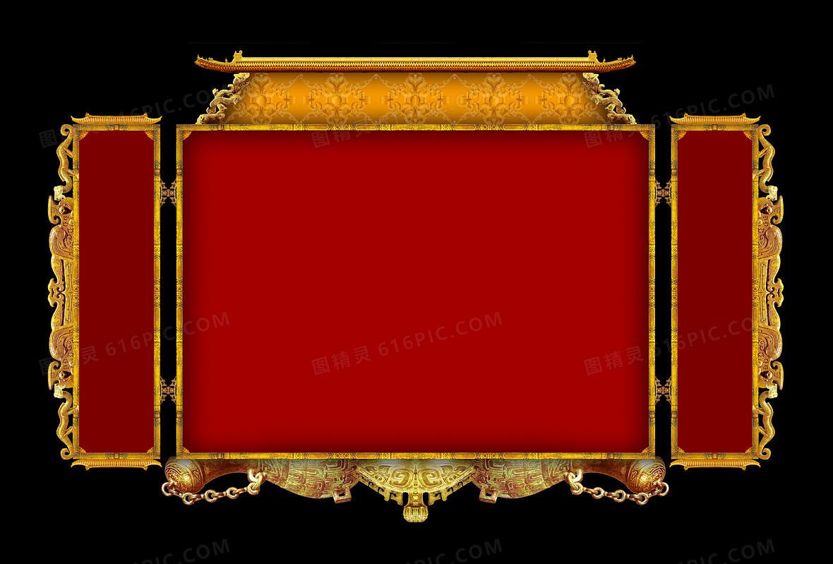 红色复古传统金黄金属边框背景