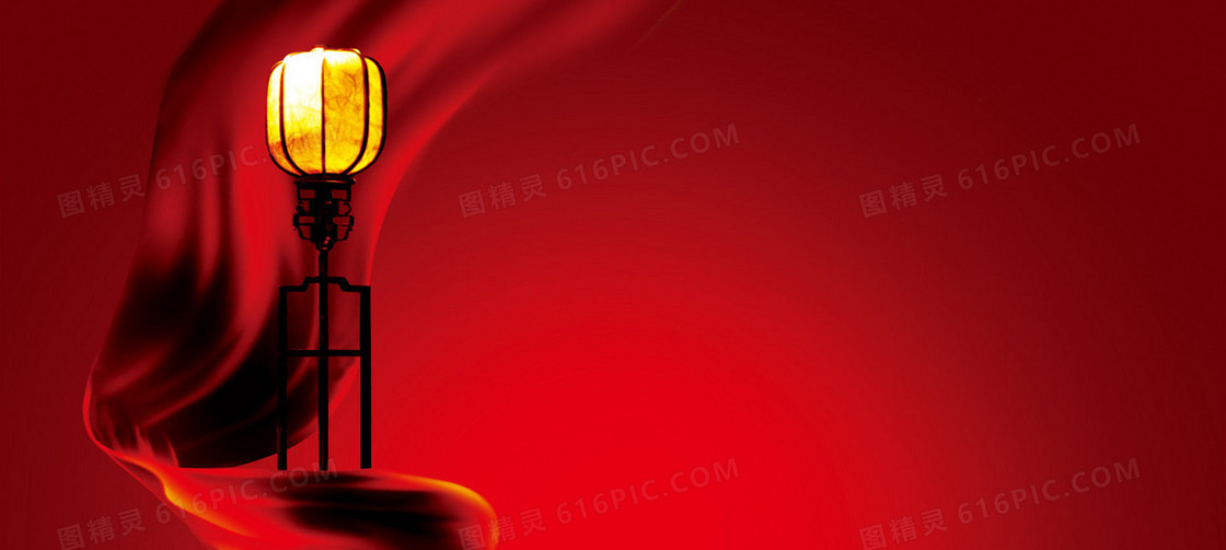中国风喜庆红色丝绸灯笼背景banner