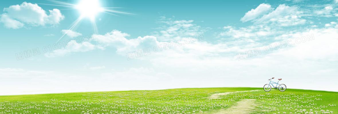 大气蓝天草地背景图片