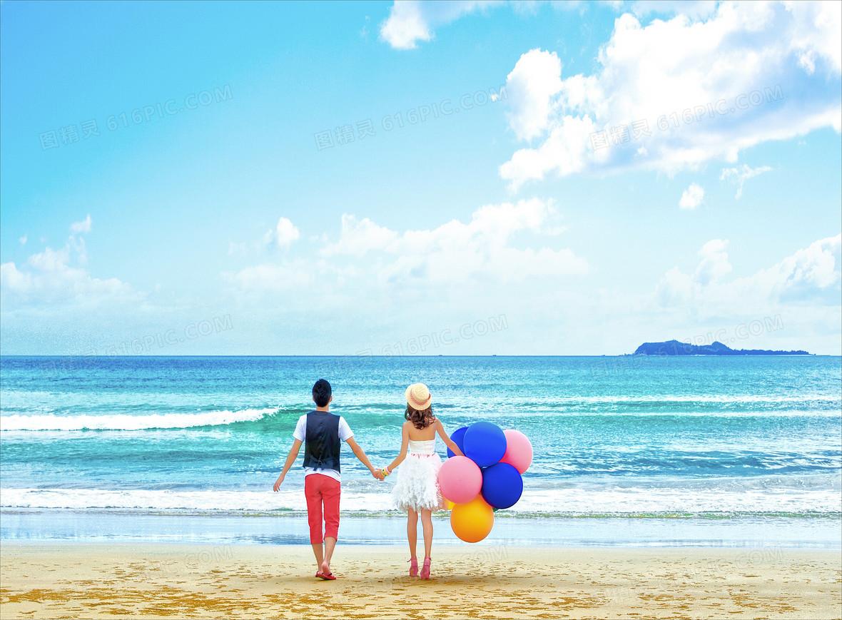 风景海边情侣气球背景