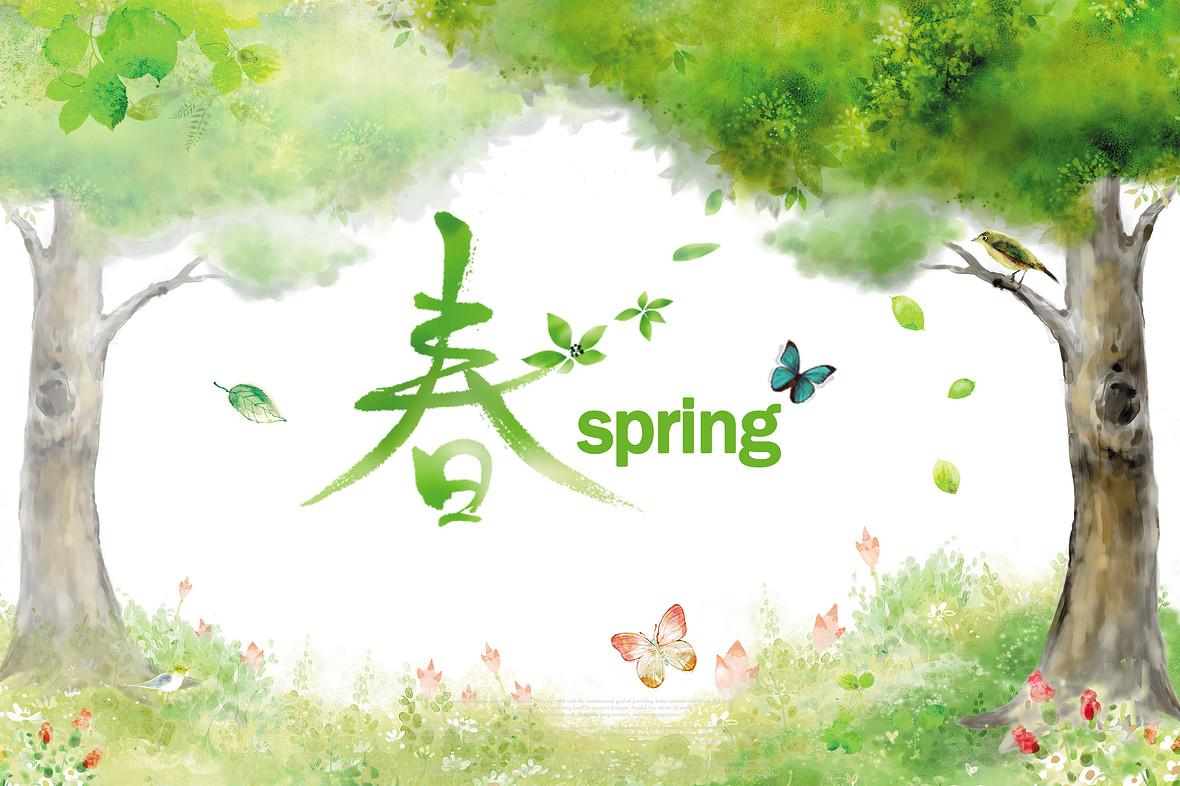 手绘唯美春天促销海报背景模板