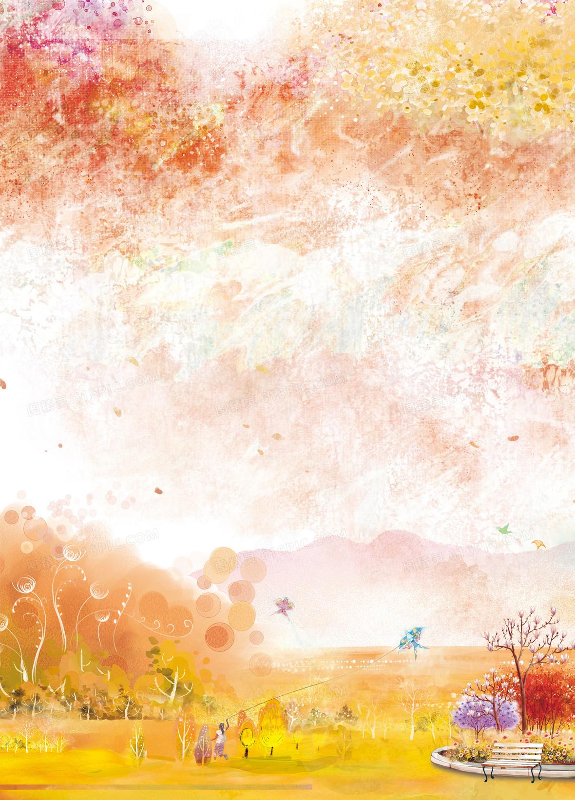 彩色水墨油画风景背景素材