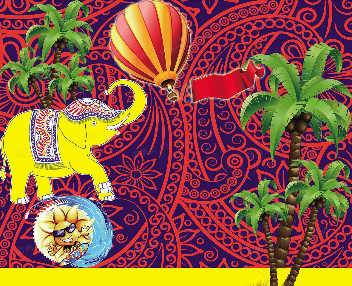 手绘泰国风情旅游海报背景墙