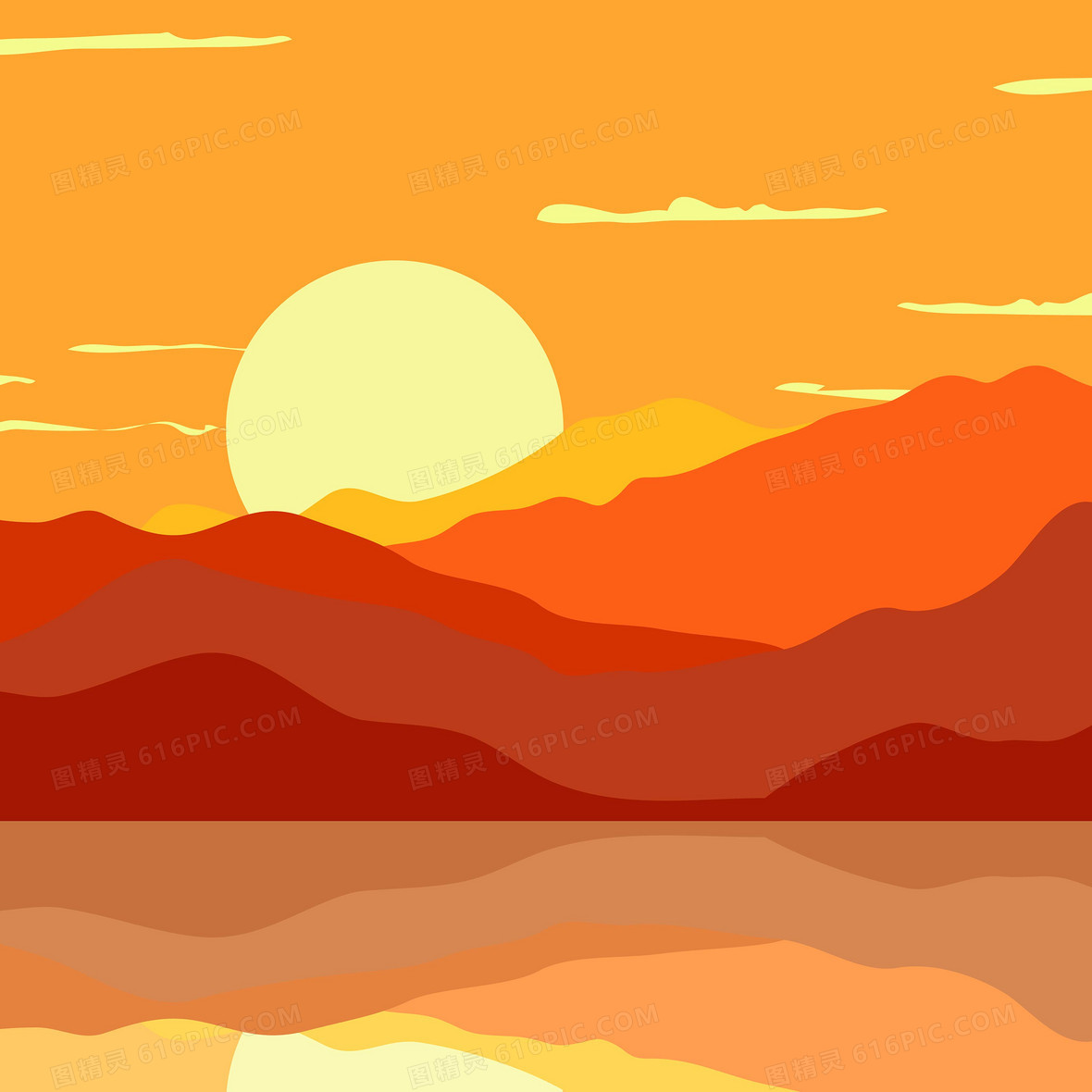 户外夕阳景观风景海报矢量背景