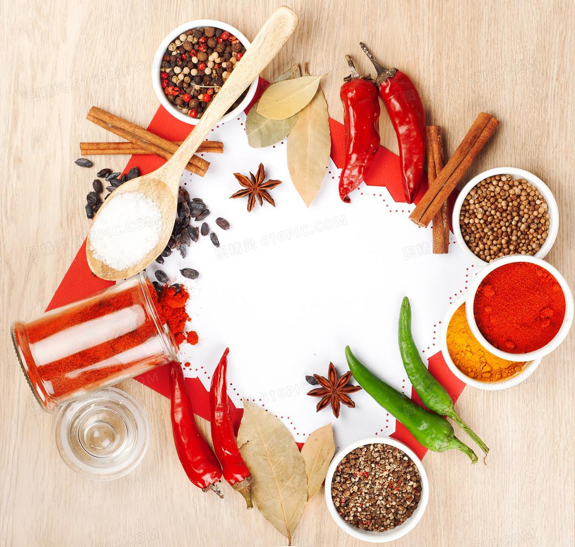 花椒辣椒食材木板背景素材