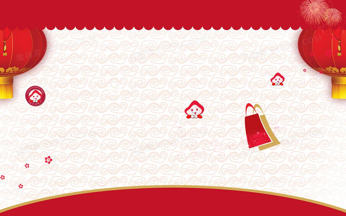 简单大气新年春节海报背景素材