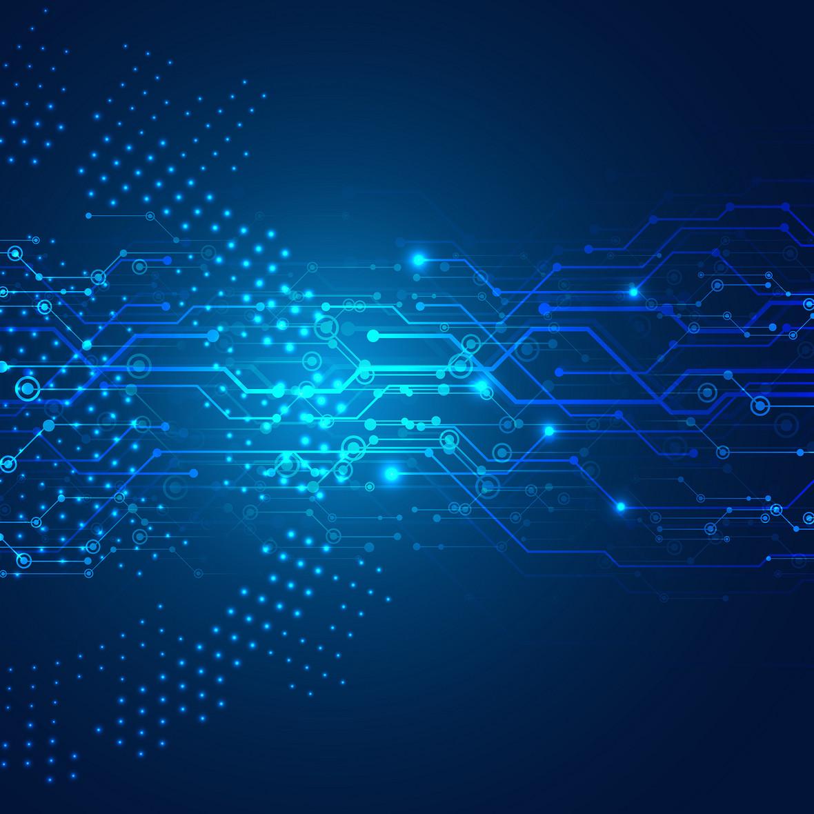 科技商务电路蓝色质感背景素材