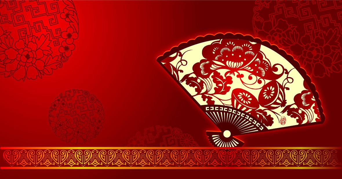 中国风中国红剪纸花纹边框折扇背景素材