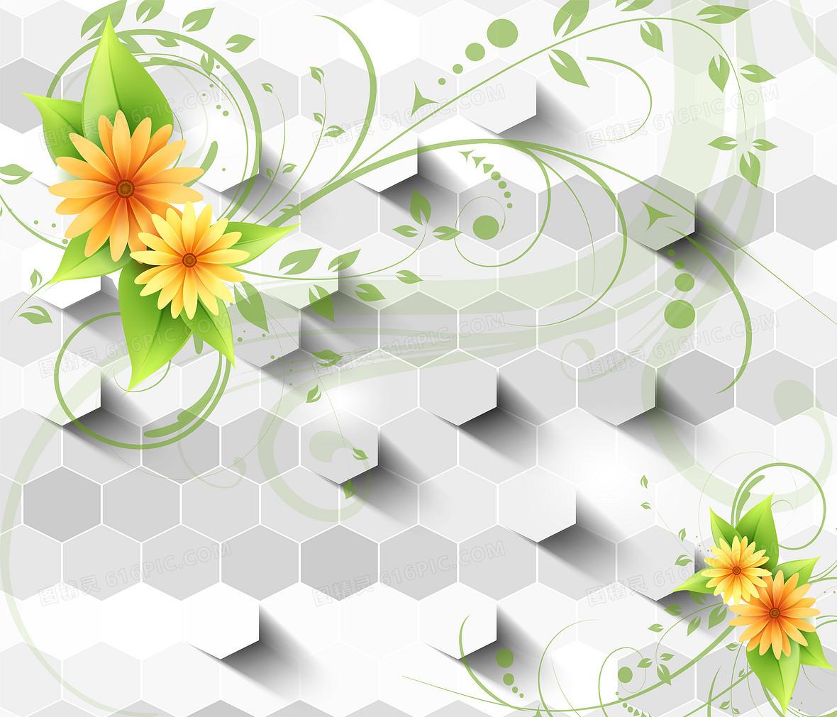 3d 花卉花藤电视墙壁纸海报背景素材