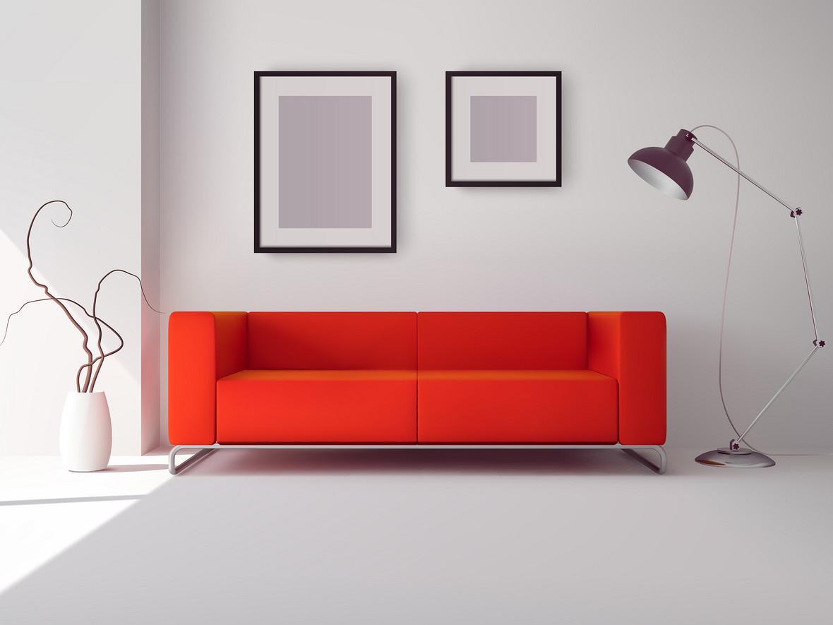 家居客厅清新沙发画框背景素材