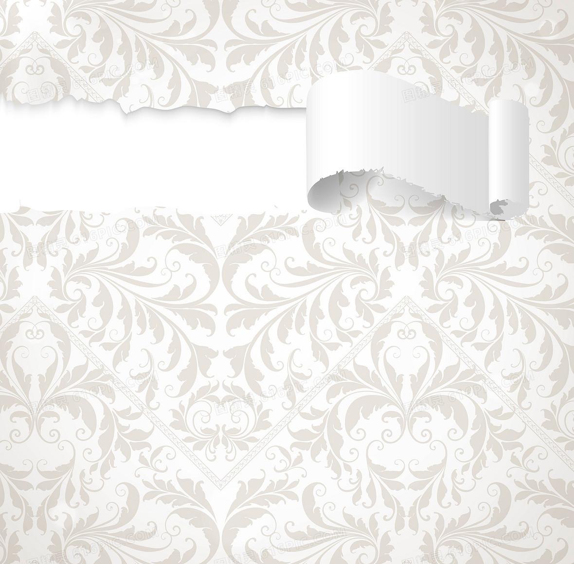 矢量欧式花纹墙壁木地板立体背景