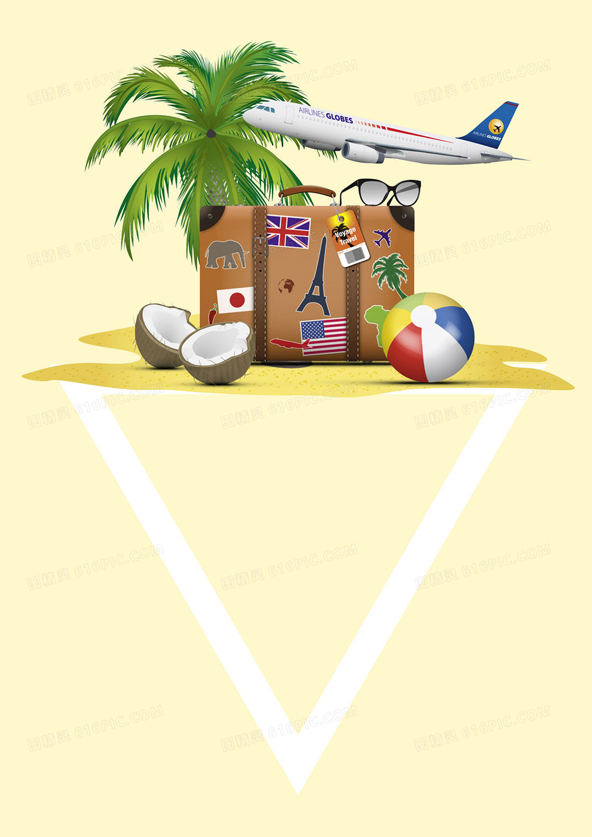 夏日旅行海南椰树旅行箱飞机出行背景素材