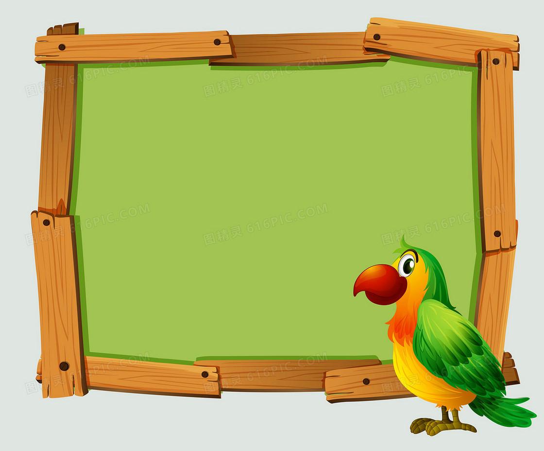 矢量卡通手绘木板边框鹦鹉背景素材