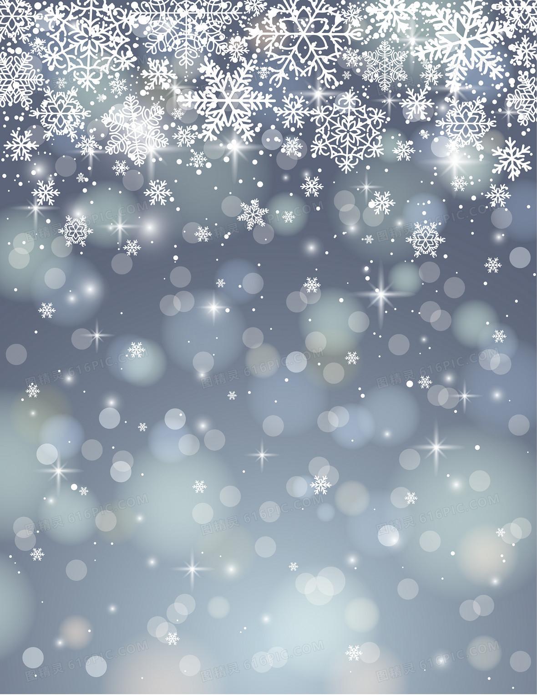冬季雪花白色光斑背景素材