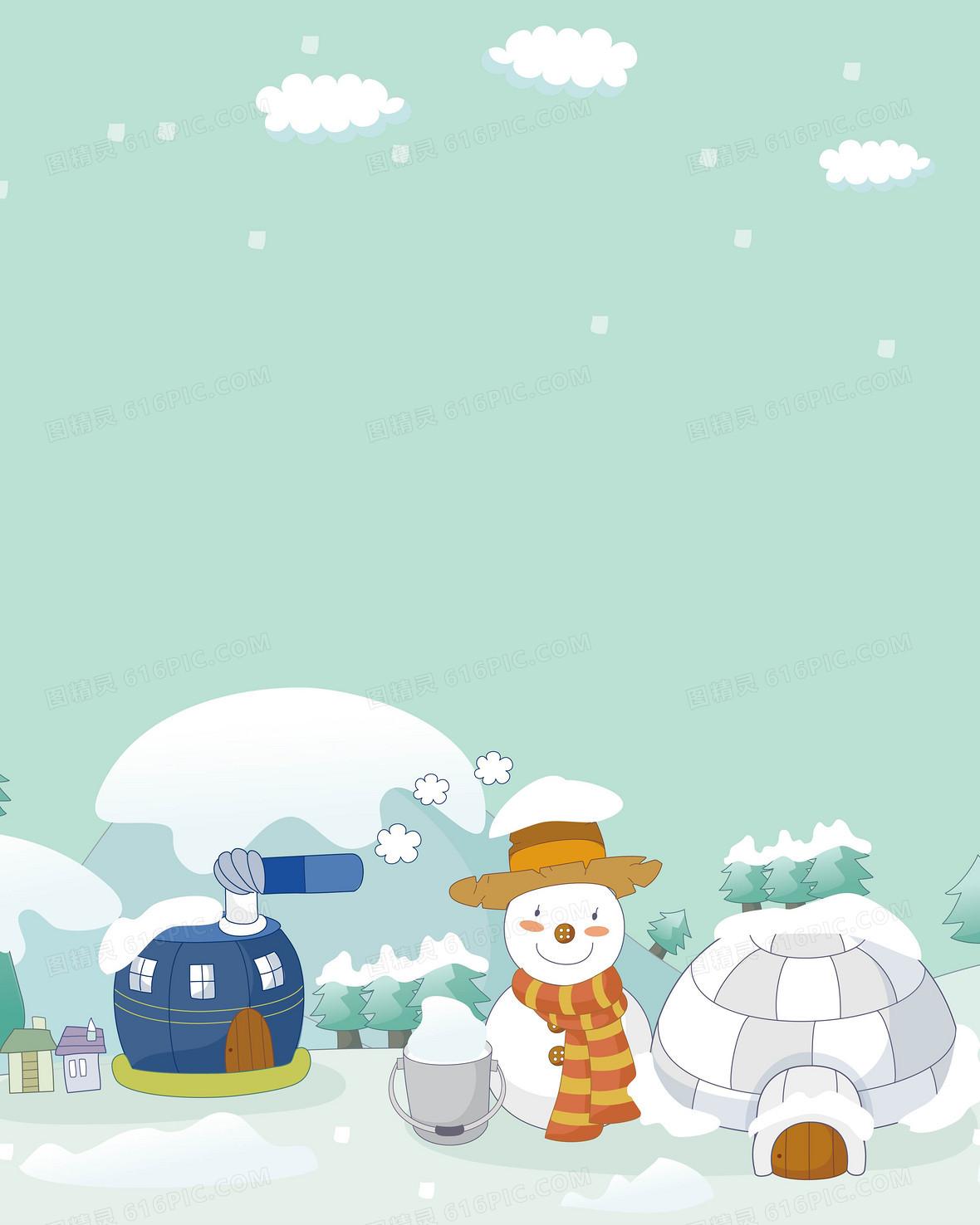 矢量手绘卡通冬天雪人南极背景素材