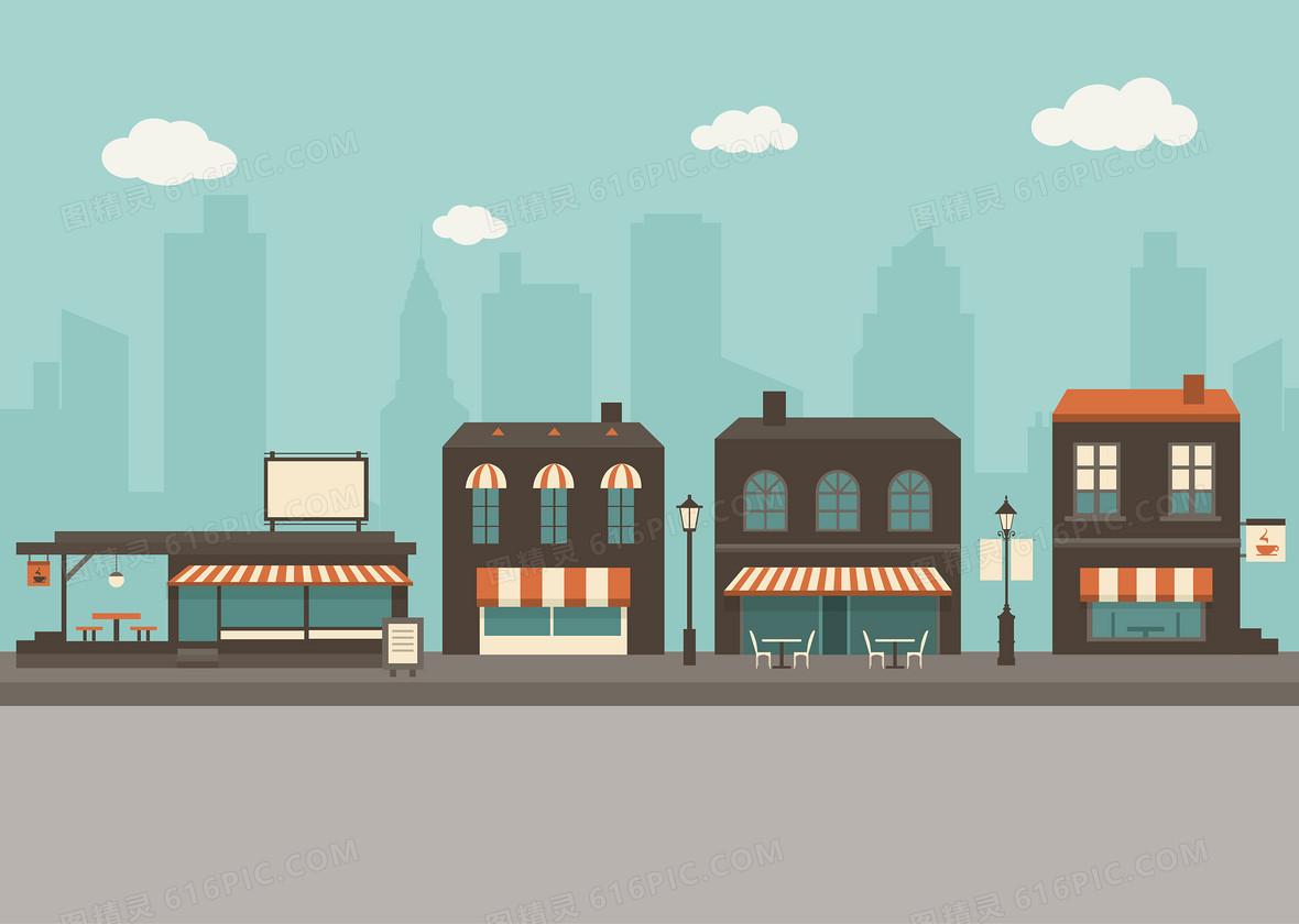 卡通城镇建筑矢量背景素材