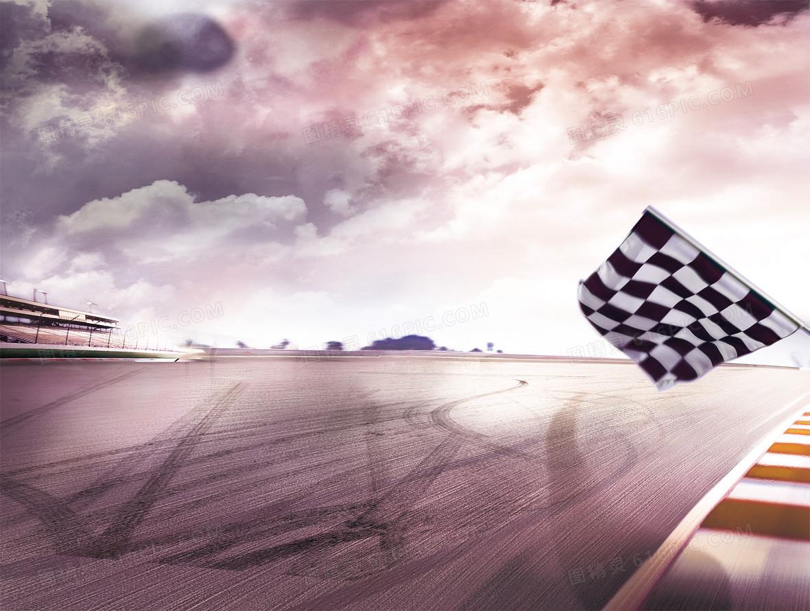 跑道赛道旗帜风景大气背景素材
