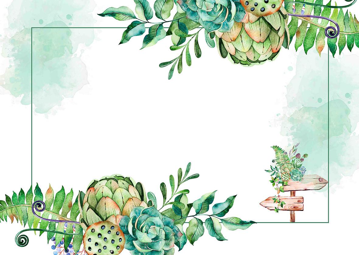清新手绘婚礼邀请函海报背景模板