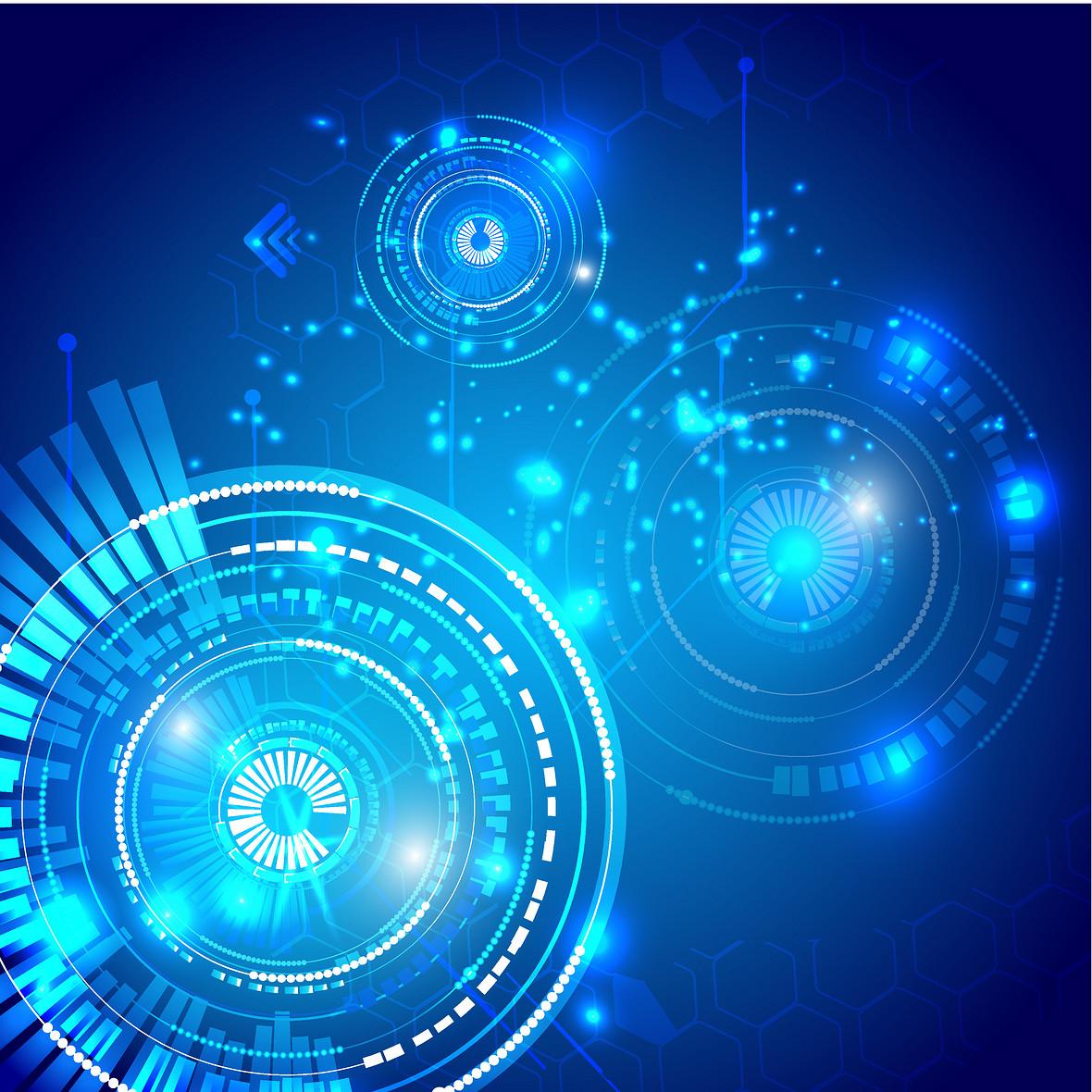 蓝色圆形几何科技背景