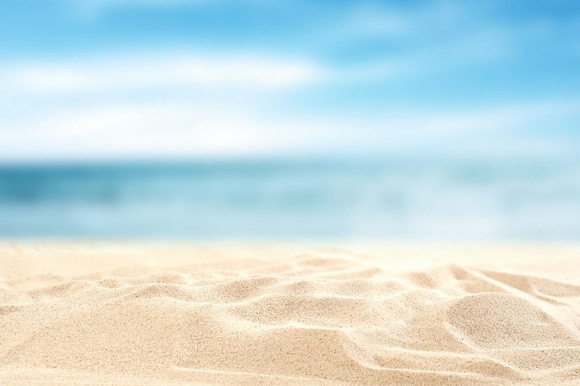 蓝色大海沙滩海边夏天小清新素材浪漫背景