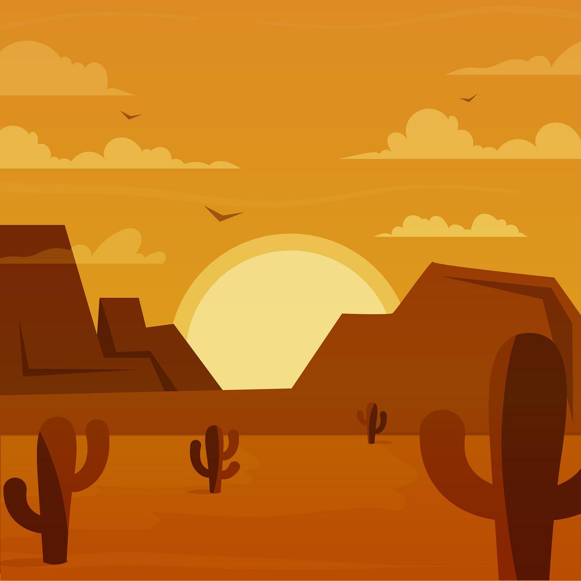 西部沙漠卡通夕阳背景素材