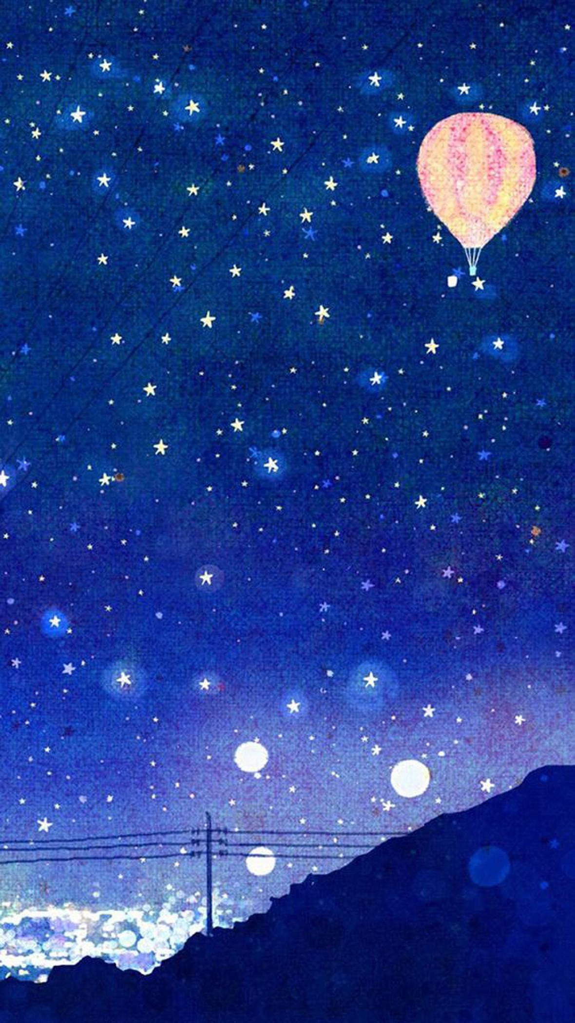 手绘水彩夜空背景