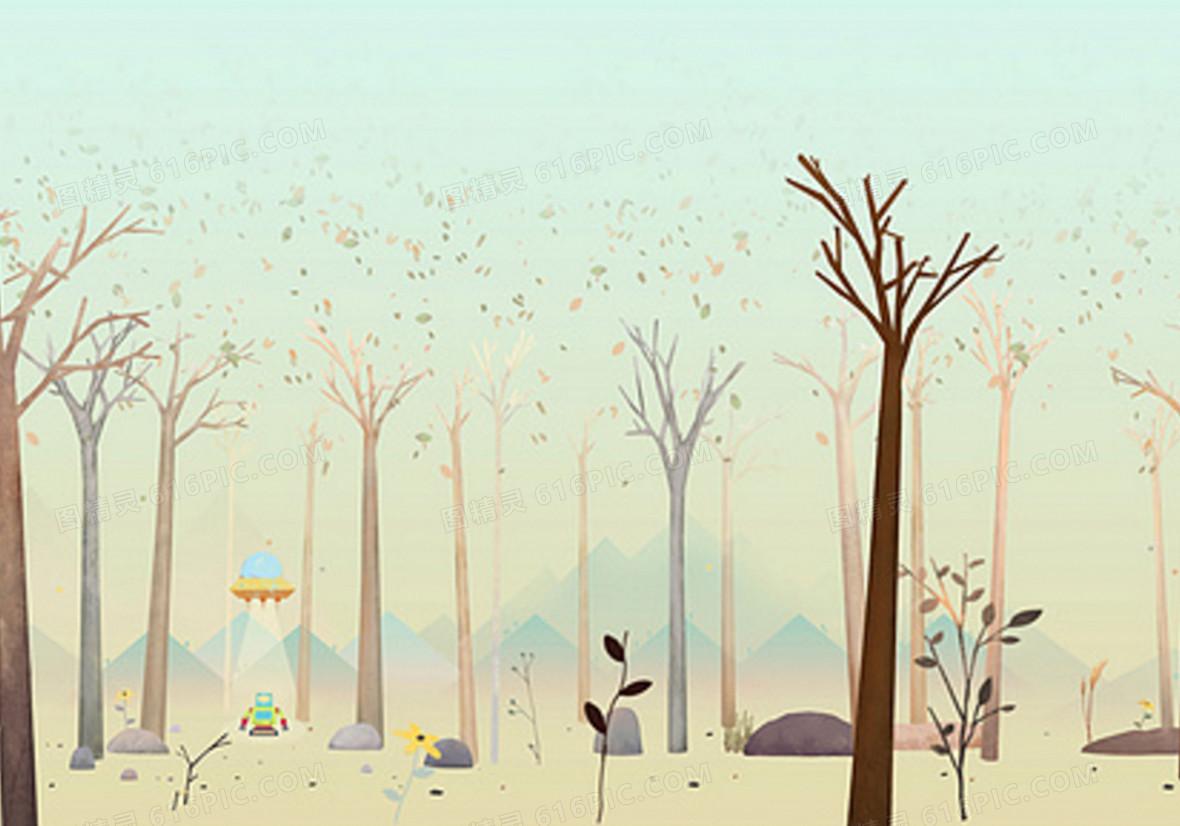 手绘树林背景