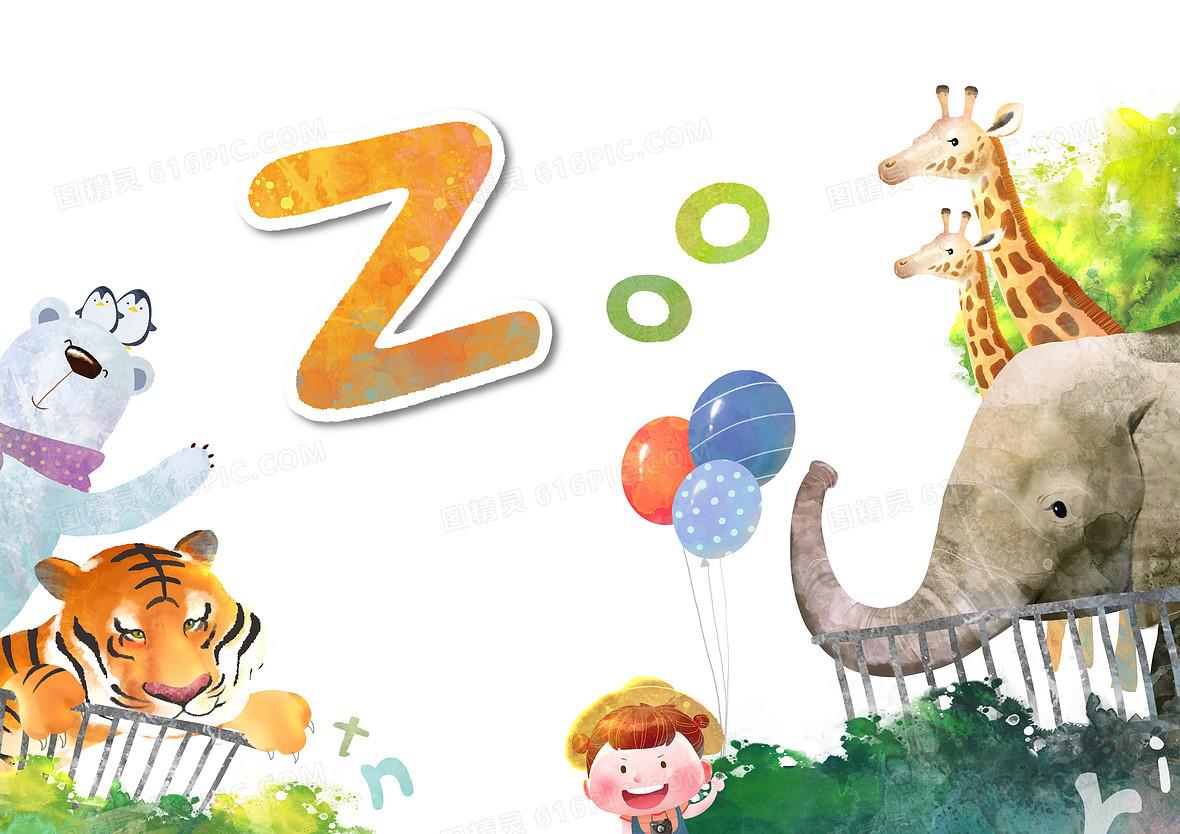 卡通手绘动物园背景素材