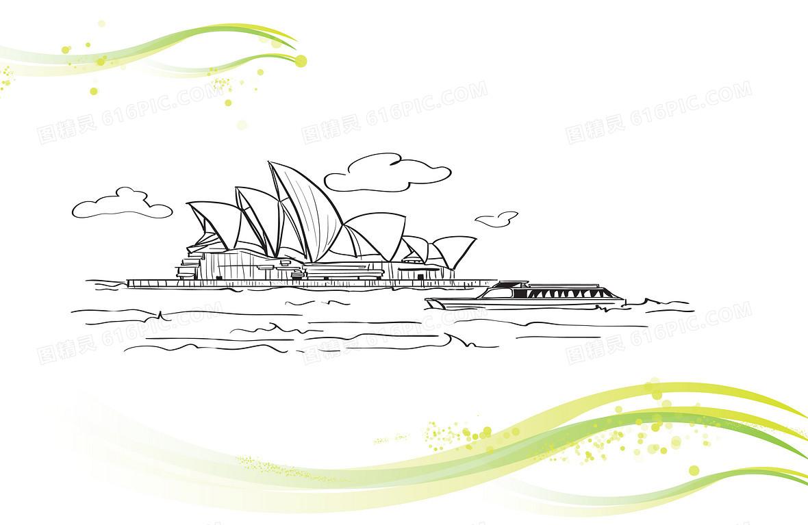 大海帆船广阔风景背景图