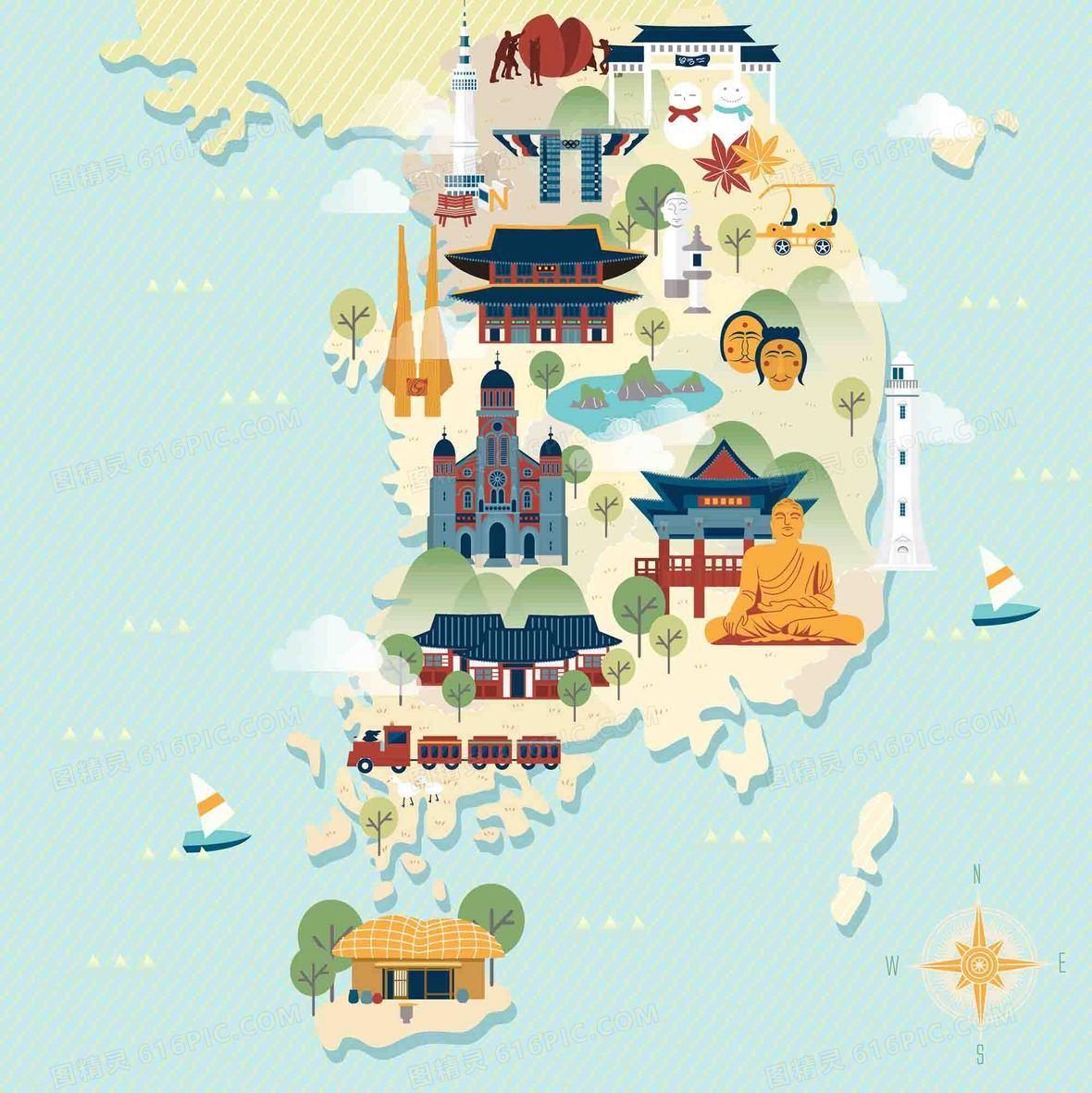 手绘矢量旅游韩国江原道景点地图海报背景