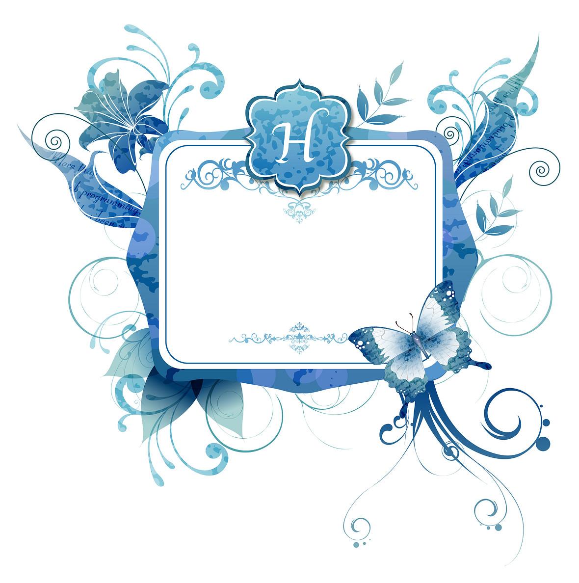 手绘白色卡片蓝色花纹边框背景素材