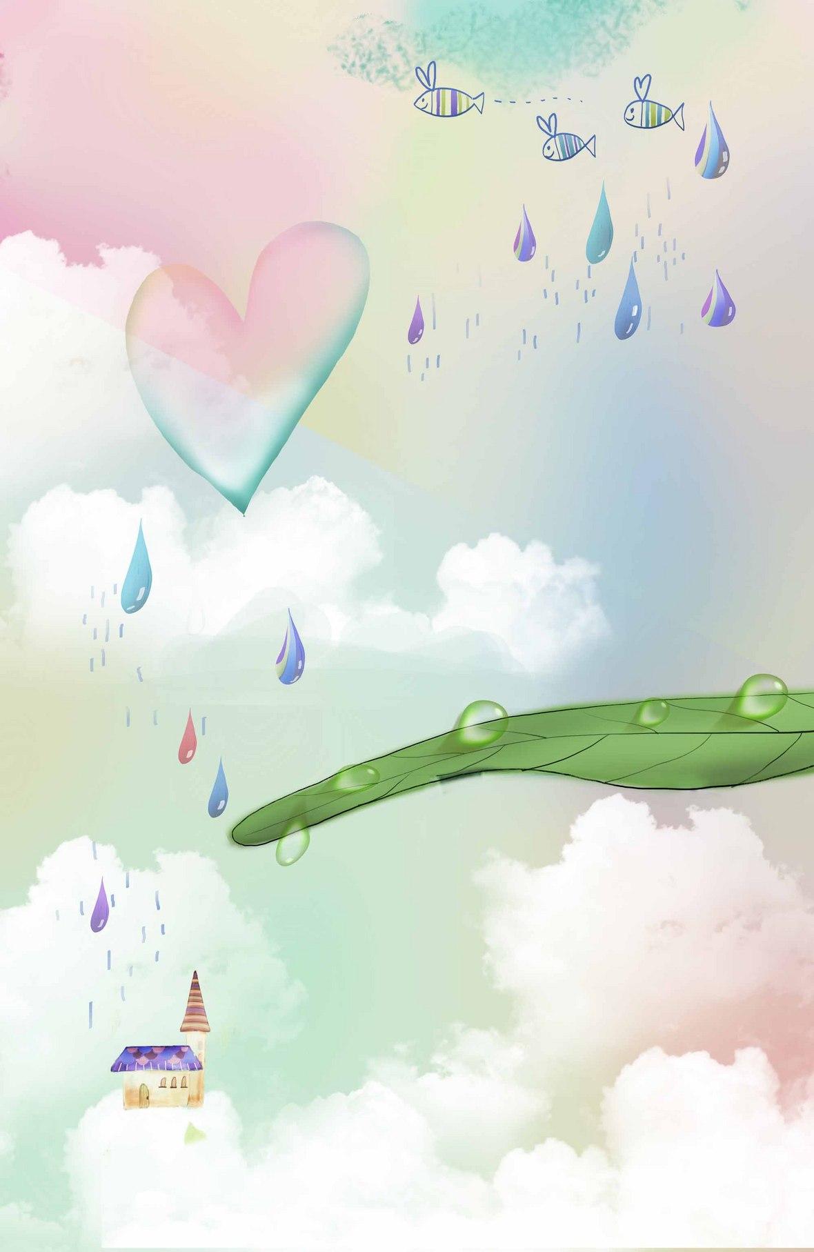 水彩手绘爱心儿童相册海报背景模板