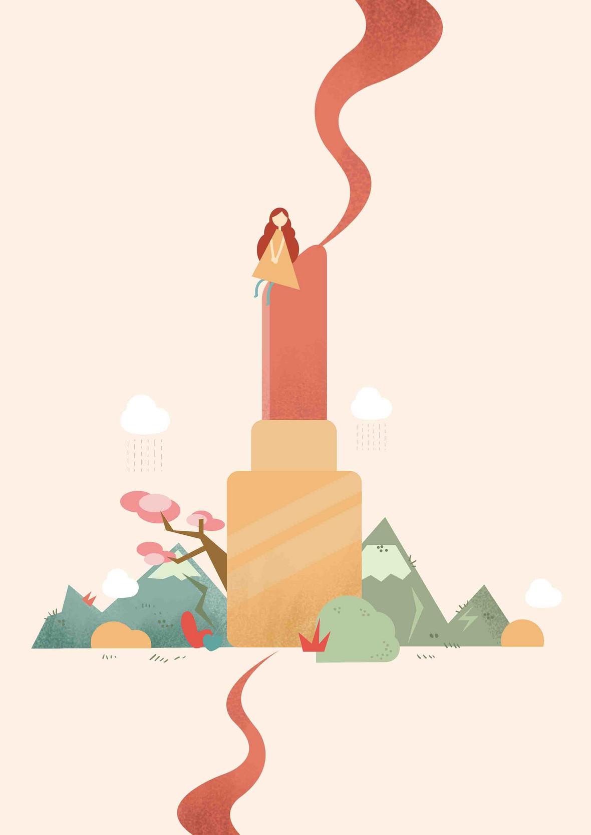 口红插画手绘海报背景模板