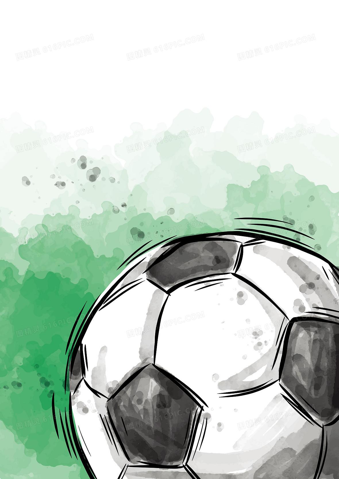 彩色水彩手绘足球海报背景素材
