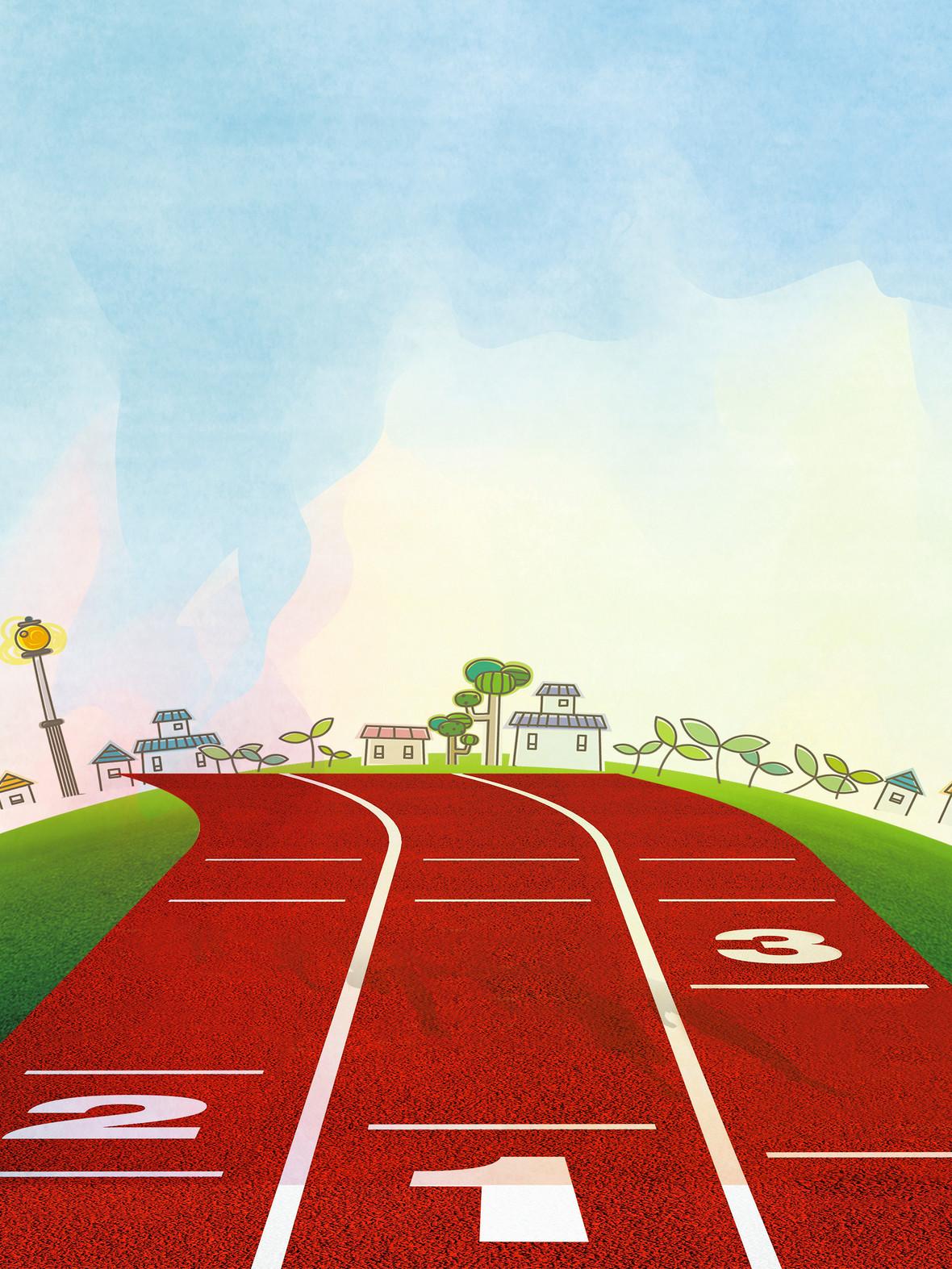 蓝天跑道手绘草地风景背景素材