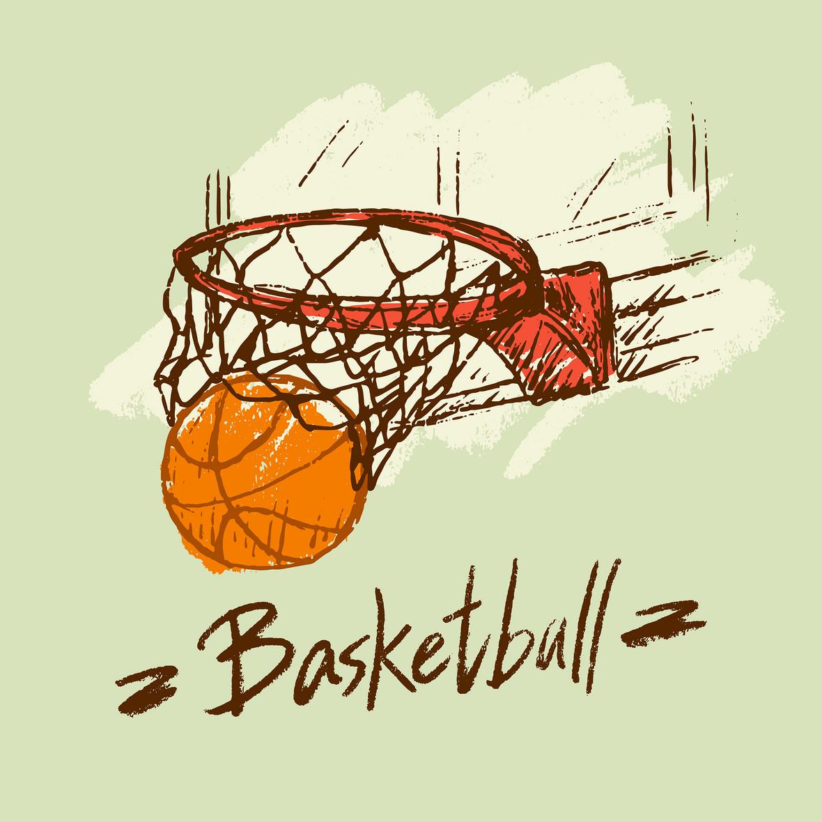 手绘卡通篮球球赛简笔画海报背景素材