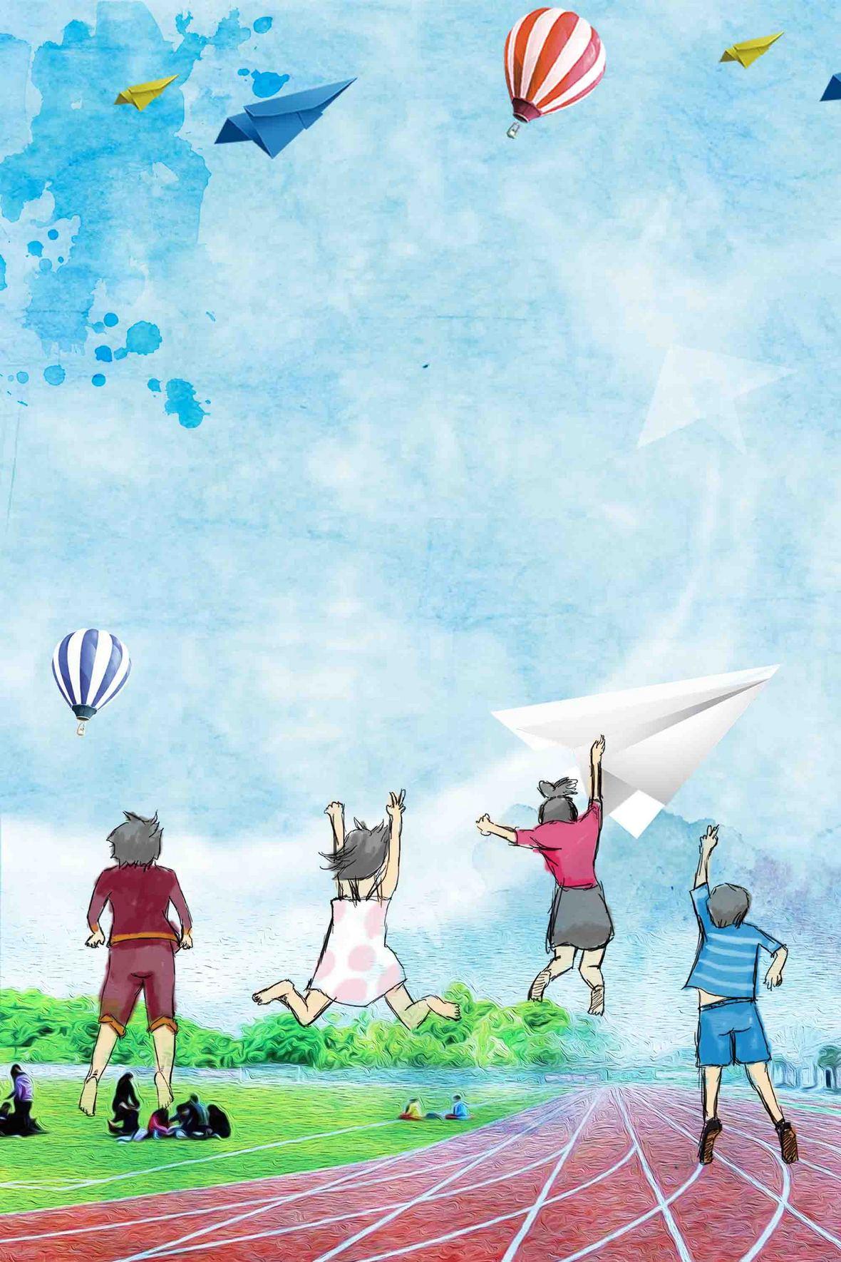 手绘青春学生毕业季毕业海报背景模板