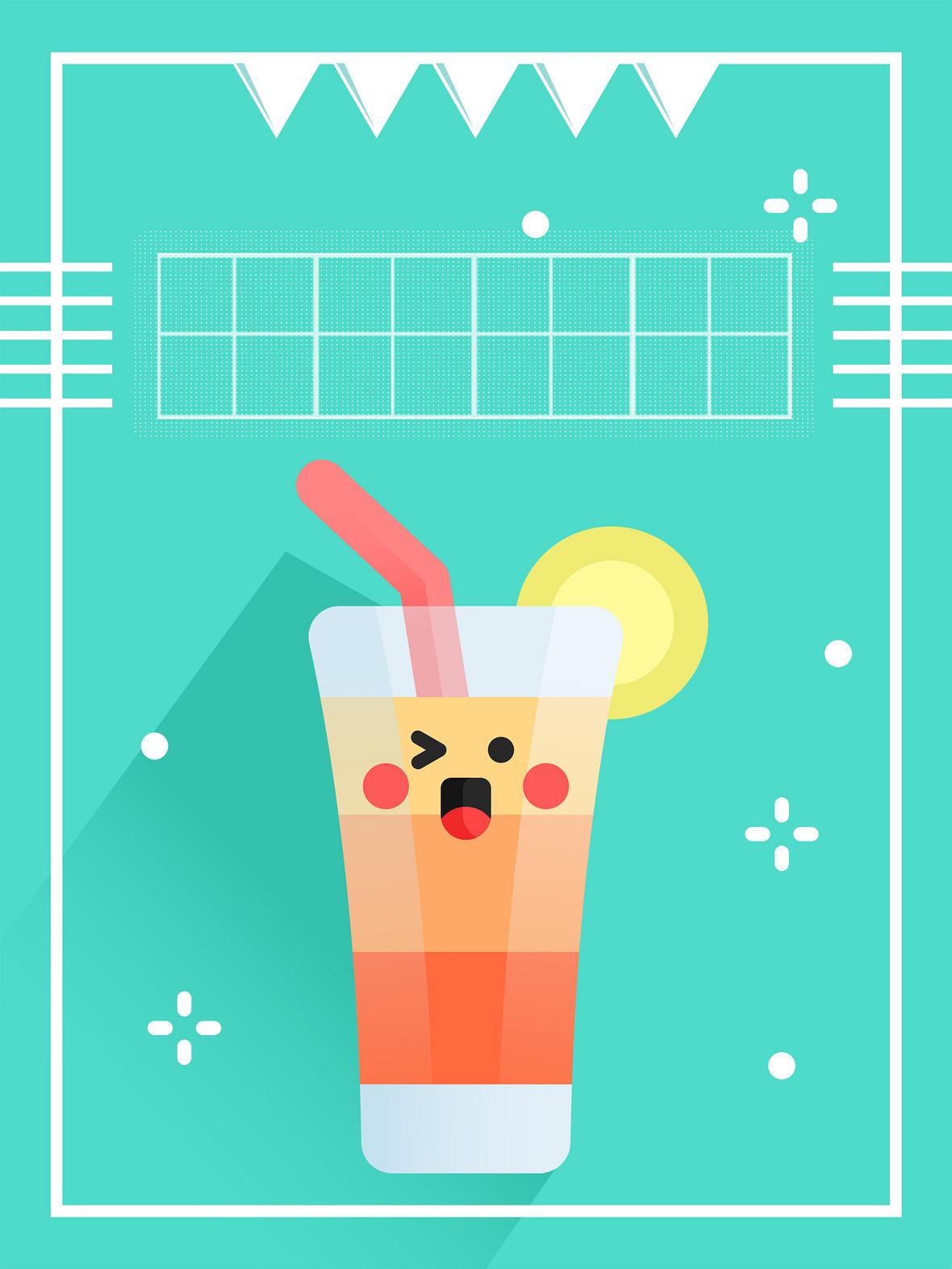 青色矢量卡通夏日饮品海报背景素材