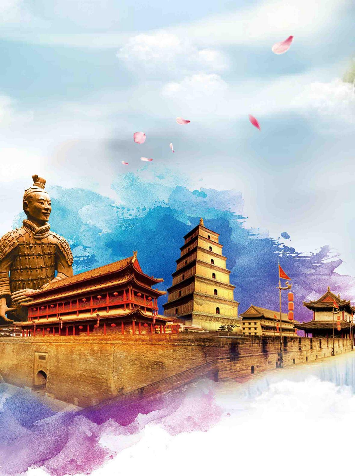 水彩西安旅游海报背景模板