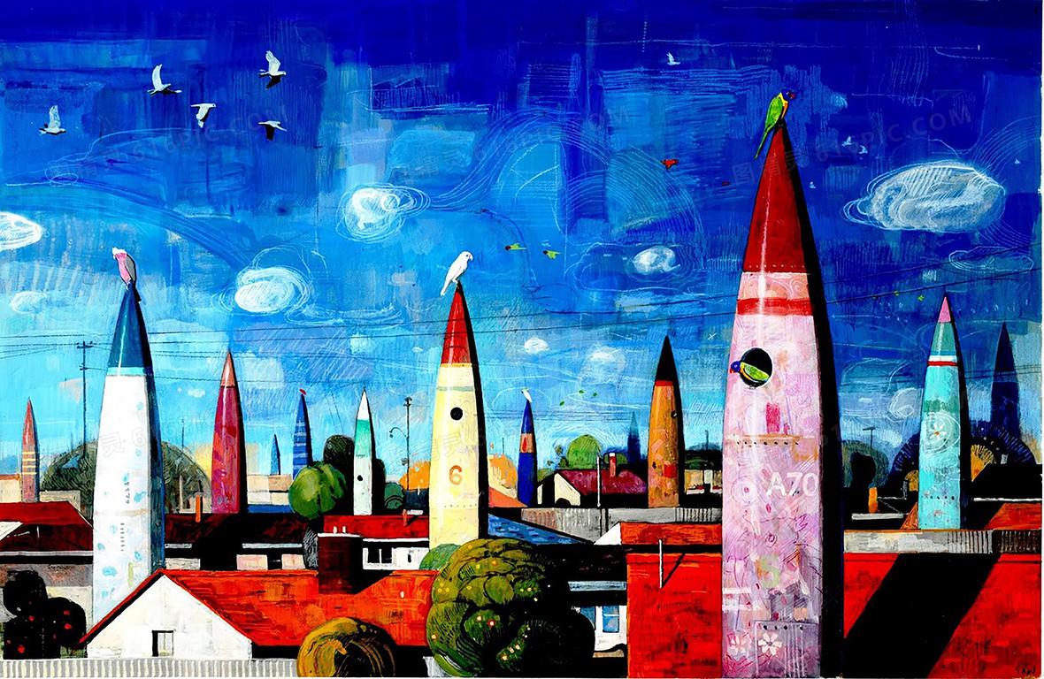 简约城市手绘背景