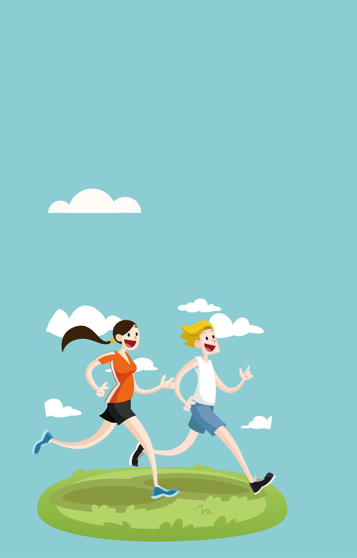卡通人物健身跑步海报背景素材