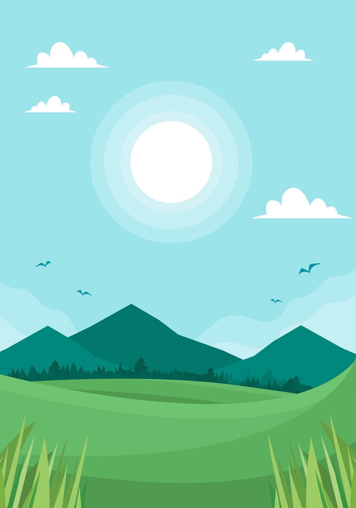 手绘草地绿树蓝天白云背景