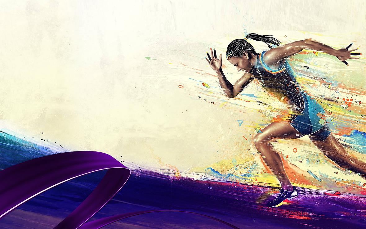 炫彩跑步运动海报背景