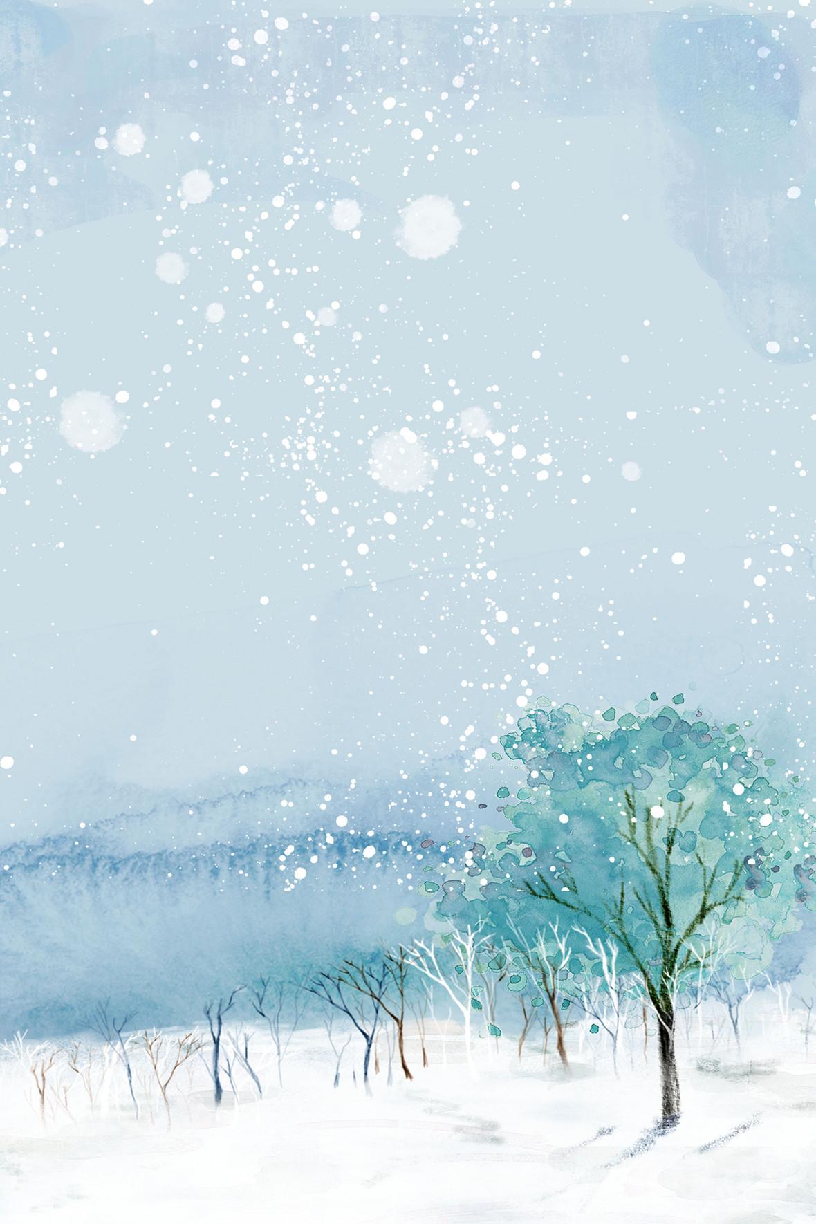 大雪山迷幻立冬节气宣传海报背景素材
