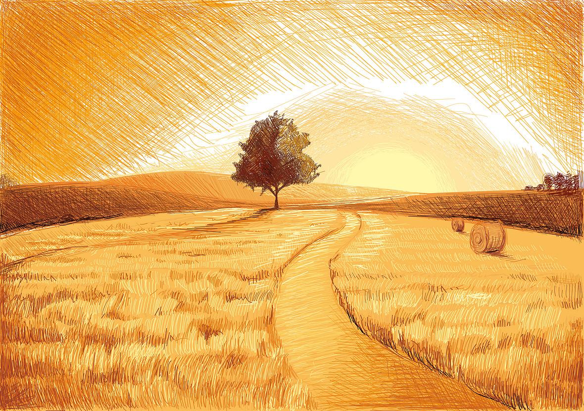 矢量秋季风景素描手绘背景